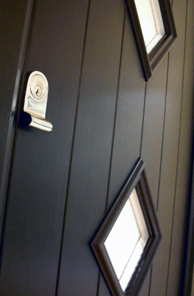 Close-up black composite door