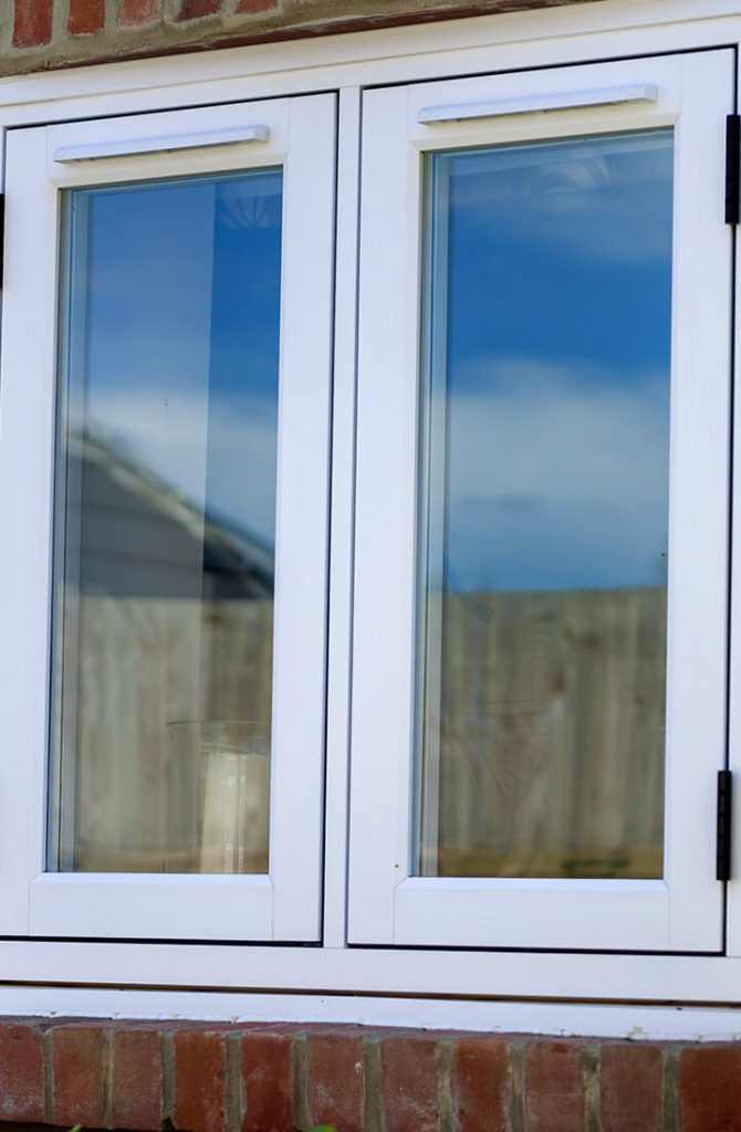 White tripled glazed window