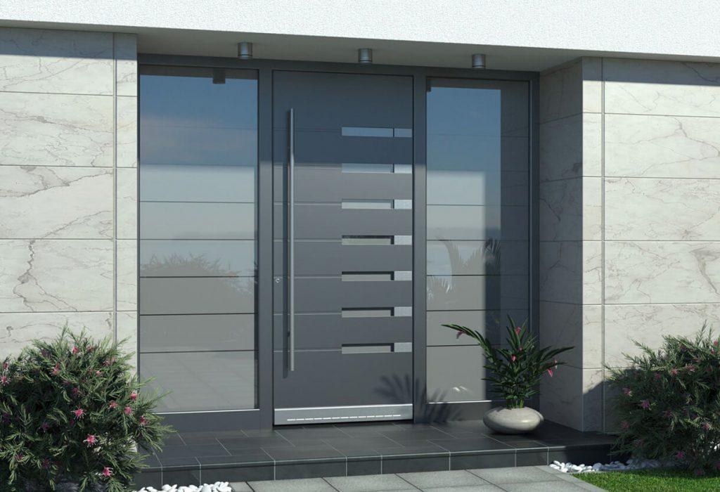Anthracite grey aluminium entrance door
