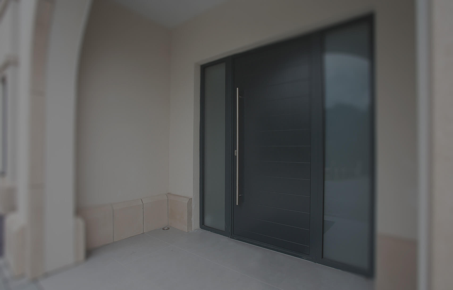 Black aluminium entrance door