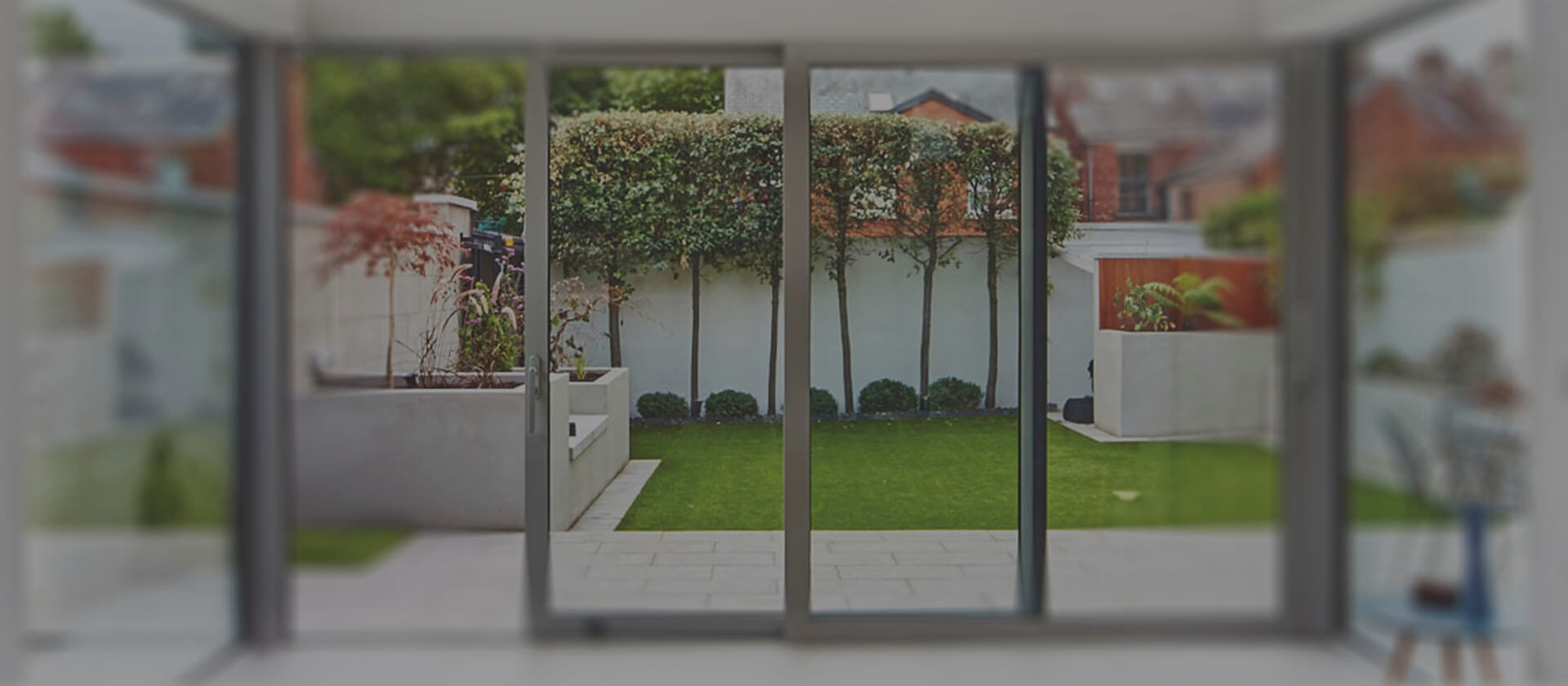 Banner blurred french patio doors