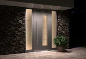 Light grey aluminium entrance door