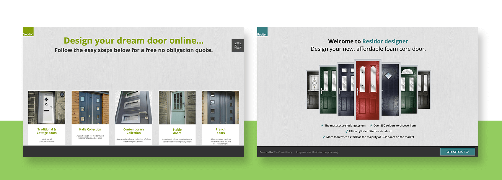Preview images of the Solidor and Residor online door designers